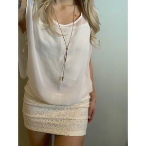 Small, cream white party dress with sheer top